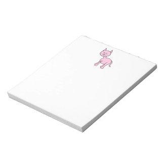 Historieta rosada linda del gato libreta para notas