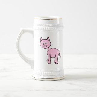 Historieta rosada linda del gato tazas