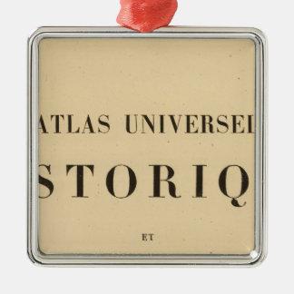 Historique del universel del atlas del medio adorno navideño cuadrado de metal