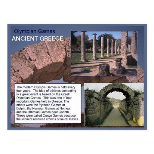 History, Ancient Greece, Olympian Games Post Card