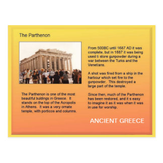 History, Ancient Greece, Parthenon Postcard