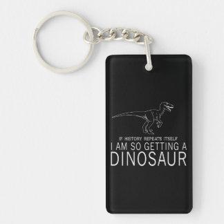 History and Dinosaurs Double-Sided Rectangular Acrylic Keychain