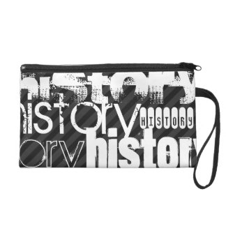 History; Black & Dark Gray Stripes Wristlet