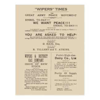 History, Facsimile header from Wipers Times 1917 Postcard