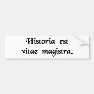 History is the tutor of life. bumper stickers
