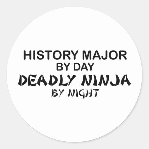 History Major Deadly Ninja Classic Round Sticker