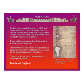 History,  Medieval England, Magna Carta Postcard