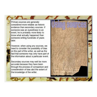 History, Medieval Sources,  Using sources Postcard