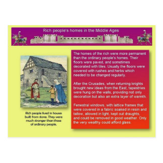 History, Middle Ages, Rich people's homes Postcard