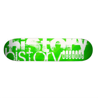 History; Neon Green Stripes Skateboard Decks