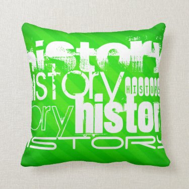 History; Neon Green Stripes Throw Pillow