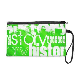 History; Neon Green Stripes Wristlet