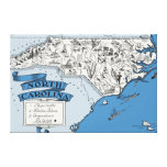 History North Carolina Map on Canvas