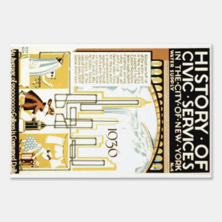 History of Civic Services New York WPA Poster Sign