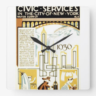 History of Civic Services New York WPA Poster Square Wall Clock