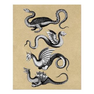 History of Dragons Wall Chart Poster
