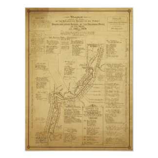 History of Exploration of the Grand Canyon Map Poster