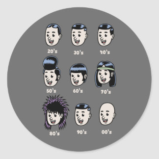 History of Mens Hair Classic Round Sticker