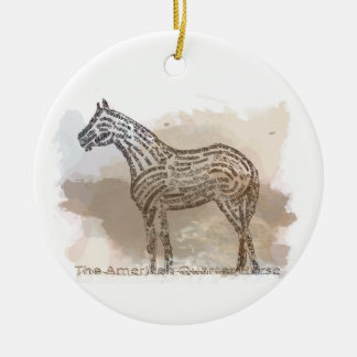 History of the American Quarter Horse in Typograph Ceramic Ornament