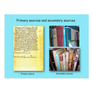 History, Primary and Secondary sources Postcard