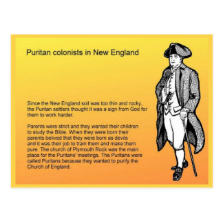 History, Puritan Colonists in New England Postcard