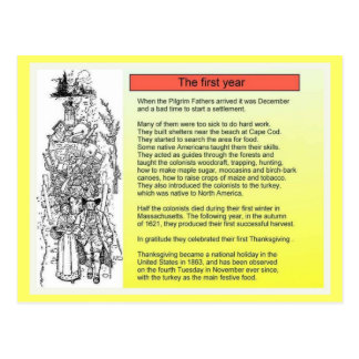History, Puritan Colonists, the First Year Postcard