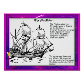 History,  Puritan colonists, Voyage in Mayflower Poster