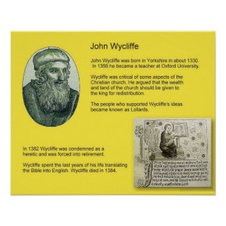 History, Reformation, John Wycliffe Print