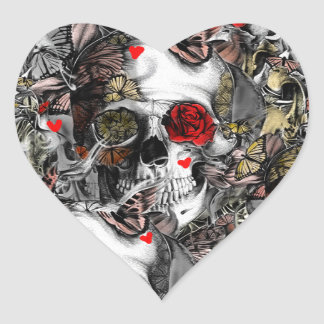 History repeats, floral skull pattern heart sticker