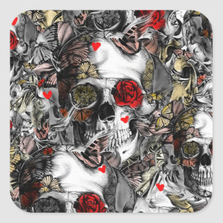 History repeats, floral skull pattern square sticker