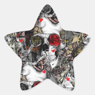 History repeats, floral skull pattern star sticker