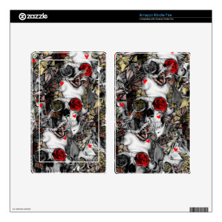 History repeats, rose skull pattern kindle fire skins