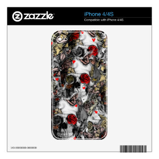 History repeats, rose skull pattern skins for the iPhone 4S