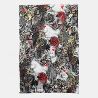 History repeats, rose skull pattern towel