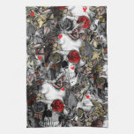 History repeats, rose skull pattern towels
