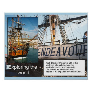 History, ships, exploring the world HMS Endeavour Poster