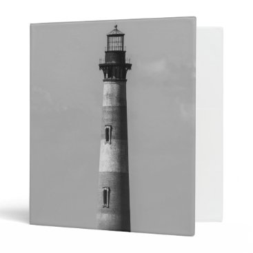 Beach Themed History Stands Tall Grayscale 3 Ring Binder
