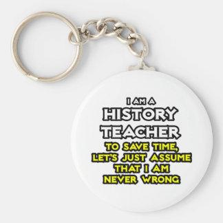 History Teacher...Assume I Am Never Wrong Basic Round Button Keychain
