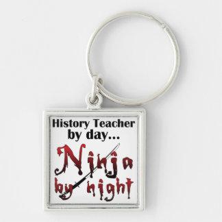 History Teacher Ninja Silver-Colored Square Keychain