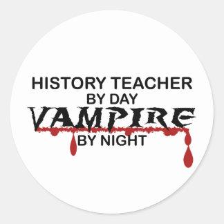 History Teacher Vampire by Night Classic Round Sticker