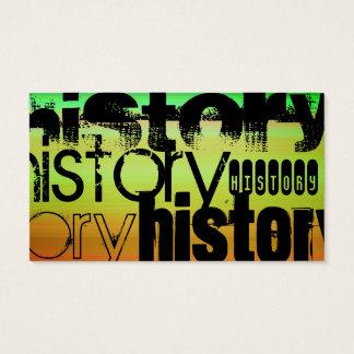 History; Vibrant Green, Orange, & Yellow Business Card