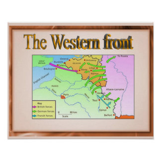 History, World War I, Western front, map Poster