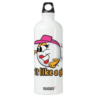 Hit It Like A Girl cartoon golf ball art Water Bottle