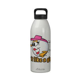 Hit It Like A Girl cartoon golf ball art Drinking Bottles