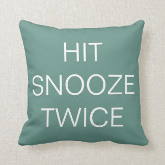 Hit Snooze Twice - Beryl Green / White Throw Pillow