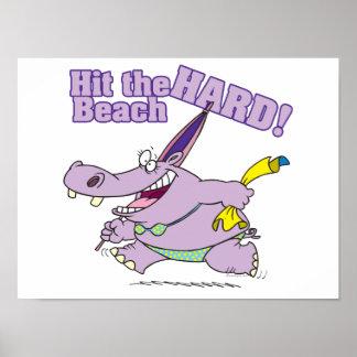 hit the beach hard funny bikini hippo poster