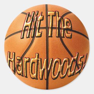 Hit the Hardwoods Round Stickers