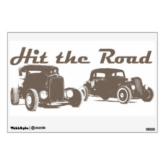 Hit the Road - Hot Rods brown version Wall Sticker