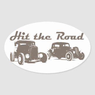 Hit the Road - Hot Rods flat brown Oval Sticker