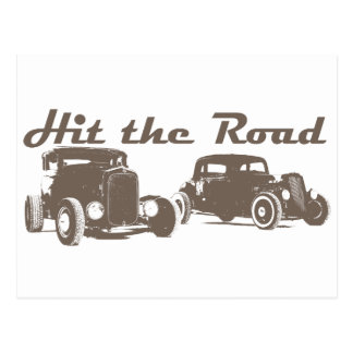 Hit the Road - Hot Rods flat brown Postcard